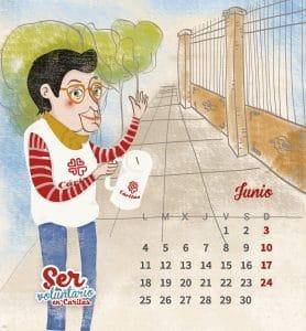 Diseño e ilustración para el calendario de Cáritas. The design of the Caritas calendar, gave us the opportunity to make some colorful illustrations.